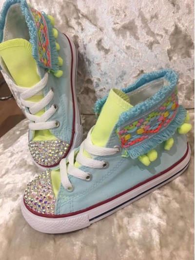 "Customised Children's Converse ""Funfair Lemon Mint"""