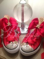 "Customised Crystal Children's Converse ""Gingerbread Man"""