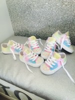 "Customised Crystal Children's Converse ""Glitter Pastel"