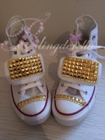 "Customised Adult's Converse ""Gold Stud Star"""