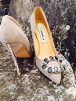 Customised Crystal Blingderella Grey Heels