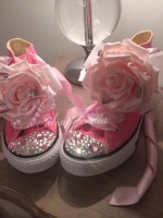 "Customised Crystal Children's Converse ""Heavenly Rose"""