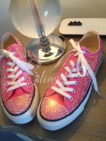 "Adult's All Crystal Converse  ""Hot Pinks"""