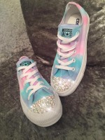 "Customised Crystal Children's Converse ""Hubba Bubba's"""