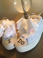 "Customised Crystal Adult's Wedding Converse ""I Do"""