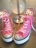 "Customised Crystal Children's Converse ""Hello Kitty 3d"""