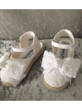 Blingderella Exclusive White Lace Espadrille Wedge