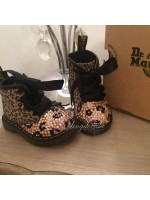 Customised Crystal Children's Leopard Print Dr Marten's