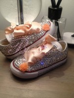 "Customised Crystal Children's Converse ""Life's Just Peachy"""