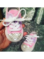 "Customised Crystal Children's Converse ""Lilac Pink Fields"""