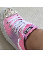 "Customised Crystal Adult Converse ""Lilac Pink Fields"""