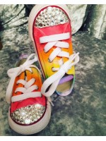 "Customised Crystal Children's Converse ""Low Top Punks"""