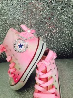 "Customised Crystal Children's Converse ""Marshmallow Dreaming"""