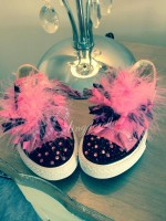 "Customised Crystal Children's Converse ""Midnight Pink"""