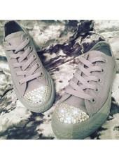"Customised Adult's Converse ""Monogram Grey Leather"""