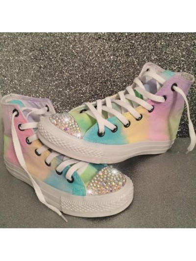 "Customised Crystal Converse Hi Tops ""Mono Pastel"""