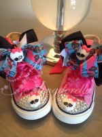 "Customised Crystal Children's Converse ""Monster High Pinks"""