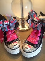 "Customised Crystal Children's Converse ""Monster High Blacks"""
