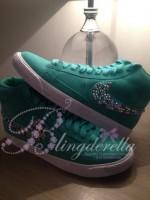 Customised Crystal Adult's Nike Blazers - Mint Multi Colour Tick