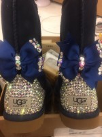Customised Crystal Adult's Short Navy Bow Uggs