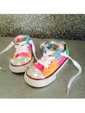 "Customised Crystal Children's Converse ""Neon Coachella"""
