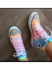 "Customised Crystal Children's Converse Hi Tops ""Neon Part 3"""