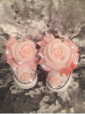 "Customised Crystal ""New 2016 Pixie Roses"" Crib Shoe"