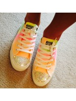 """Customised Crystal Converse Low Tops """"Oilily Colours"""""""