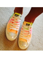 "Customised Crystal Children's Converse Low Tops ""Oilily Colours"""