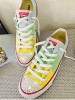 """Customised Crystal Children's Converse  """"Over The Rainbow"""""""