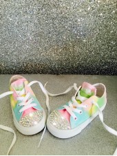 "Customised Crystal Children's Converse ""Pastel Mono"""