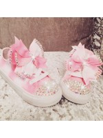 """Customised Crystal Children's Converse  """"Pink Candy"""""""
