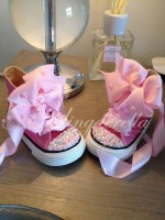 """Customised Crystal Children's Converse """"Pink Clouds"""""""