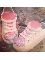 """Customised Crystal Children's Converse """"Pink Leatherette"""""""