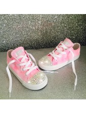 """Customised Crystal Children's Converse """"Pink Paint Bomb"""""""