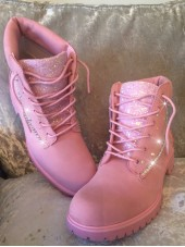 Customised Crystal Adult's Pink Timberlands