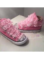 """Customised Crystal Children's Converse """"Pink Tuxedo"""""""