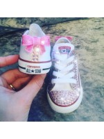 "Customised Children's Converse ""Pink Twinkles"""