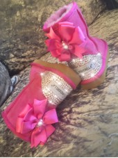 Customised Crystal Children's Pink Blingderella Uggs with Bow