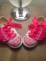 """Customised Crystal Children's Converse """"Pink Wings"""""""