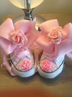 "Customised Crystal ""Pixie Roses"" Crib Shoe"