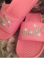 NEW Customised Crystal Adult's Puma Pool Sliders