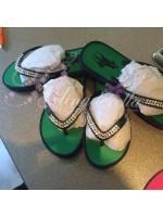 Ralph Lauren Crystal Flip Flops Green