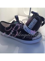 Ralph Lauren Navy Crystalised Shoes Backstrap & Toes