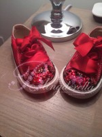 """Customised Crystal Converse """"Red Background Leopards"""""""