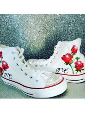 "Customised Children's Converse ""Rose Initial"""