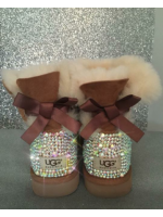 Customised Crystal Children's Short Bailey Bow Uggs