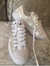 Customised Adult's Converse Silver All Crystal Sides
