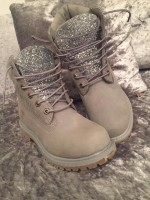 Customised Crystal Children's Silver Grey Timberlands