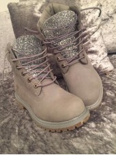 Customised  Adult's Silver Grey Timberlands
